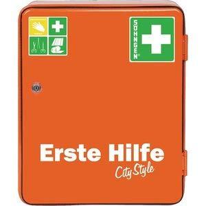 Söhngen Verbandsschrank HEIDELBERG orange (Stahlblech Schrak City Style; eintürig; klappbares Ablagetableau; ein Einlegeboden; Sicherheitsschloss; 20 Jahre sterile Verpackung) 0501030