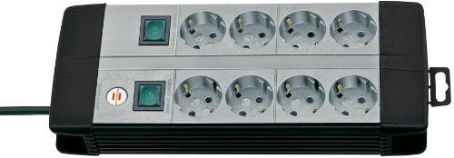 Brennenstuhl Premium-Line, Technik Steckdosenleiste 8-fach Duo mit 4-fach schaltbaren Steckdosen (mit 3m Kabel) Farbe: schwarz / lichtgrau